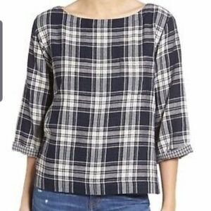 Madewell ink plaid  boxy Bedford top  Sz XS